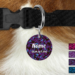 Small Round Personalised Dark Camo Double Sided Pet ID Tag, Dog tag, Cat tag