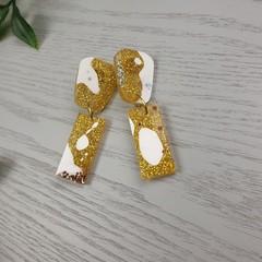 Icecream - Gold and White - Glittering - Drop Resin - Stud Dangle earrings