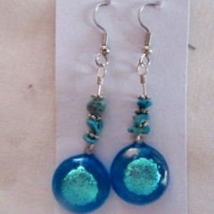 Fused glass & dichroic drop earrings, small