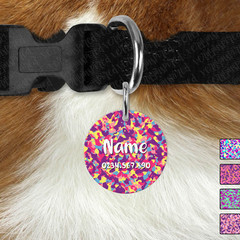 Small Personalised Bright Camo Double Sided Pet ID Tag, Dog tag, Cat tag