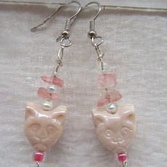 Glass, gemstones & crystal drop earrings