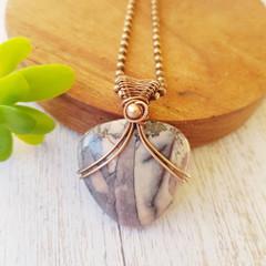 Copper Wire wrapped porcelain jasper statement pendant necklace - OOAK - copper