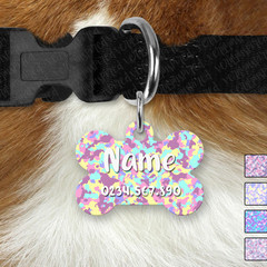 Bone Personalised Pastel Camo Double Sided Pet ID Tag, Dog tag, Cat tag