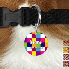 Small Round Bright Geometric Double Sided Pet ID Tag, Dog tag, Cat tag