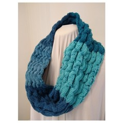 Hand Knitted Continuous Cable Scarf - Aqua & Teal