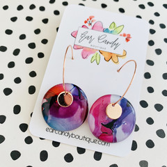 Rose Pink, Fuschia + Purple 2.5cm Ink Hoops with Rose Gold Charm