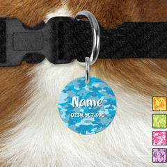 Small Round Personalised Camo Double Sided Pet ID Tag, Dog tag, Cat tag