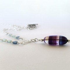 Oval rainbow fluorite and sterling silver handcrafted boho pendant necklace
