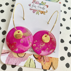 Bright Pink + Gold 2.5cm Ink Hoops with Gold Charm