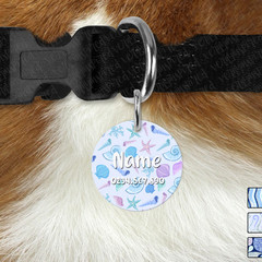 Glitter Mermaid Round Double Sided Pet ID Tag, Dog tag, Cat tag, Under the Sea