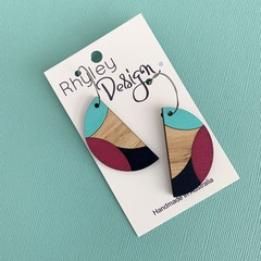 Painted Wooden Statement Earrings