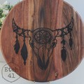 Personalised Etched Timber Acacia Boards - Cattle Skull