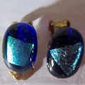 Larger glass & dichroic stud earrings