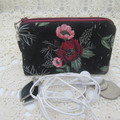 Coin Purse - Women's/Girls for Coins, Cards,Jewellery, Airpods - Black Floral