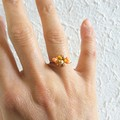 Dainty Simple Mid century style seed beaded wire ball knot ring , Orange Cream