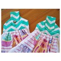 """Set of 2 Fabric Topped Green & White """"Tea Time"""" Hanging Hand Towels"""