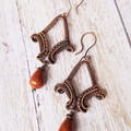 Copper Wire wrapped earrings with goldstone drops - copper anniversary gift ]