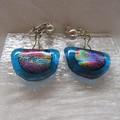 Clip on drop glass earrings