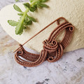 Pure copper wire wrapped shawl or scarf pin brooch  - OOAK - copper anniversary