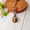 Delicate coiled tigers eye wire wrapped pendant necklace - copper anniversary gi