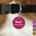 Small Round Personalised Leopard Double Sided Pet ID Tag, Dog tag, Cat tag,