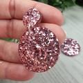 Musk pink Disk Drop Resin - Stud Dangle earrings