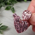Musk pink Heart Drop Resin - Stud Dangle earrings