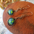 Copper Wire wrapped earrings with artisan made lampwork beads