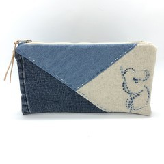 Denim Zipper Bag, Up-cycled Jeans Pencil Case, Make-up Pouch, Koala Embroidery