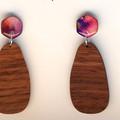 Hand-Painted Wood & Resin Dangle Earrings