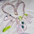 Fused glass necklace/gold wire/beads