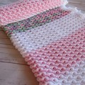 Precious Princess blanket in pink with a gorgeous feathery white border