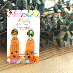 Hand-Painted Petite Wood + Resin Dangle Earrings