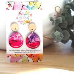 Hand-Painted Petite Teardrop Earrings