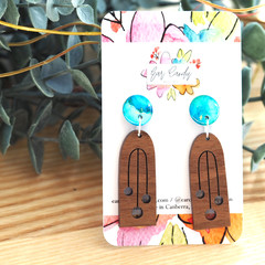 Hand-Painted Petite Wood + Resin Dangle Earrings