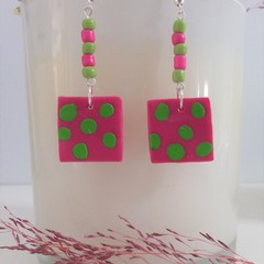 Unique Hot Pink & Lime  Beaded Everyday Fashion Earrings