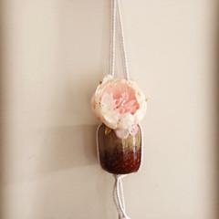 Watercolour painted floral vase macrame hanging