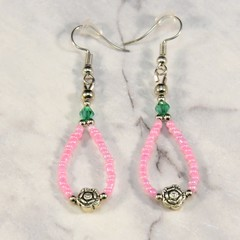 Fuschia Seed Bead Dangle Earrings with Rose Feature