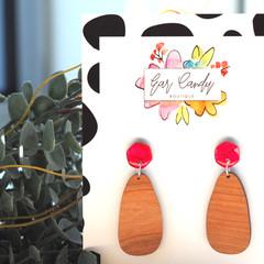 Hand-Painted Wood + Resin Dangle Earrings