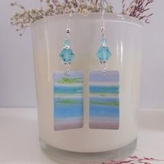 Pretty Blue Pastel Dangle Drop Earrings