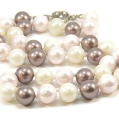 Pale Pink, Dove Grey and White Shell Pearl Necklace for Women