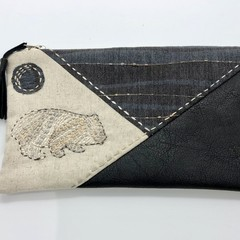 Leather & Linen Zipper Bag, Clutch Purse, Make-up Pouch, Wombat Embroidery