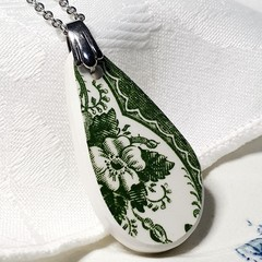 Green on White Teardrop Pendant