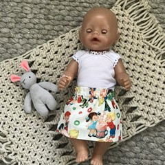 HANDMADE 'Baby Born' Skirt and Singlet Set