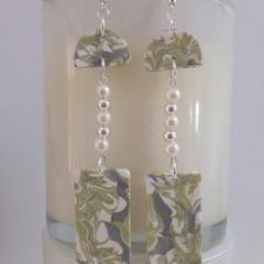 """Pearls & Silver"" Dangle Drop Marbled Earrings"