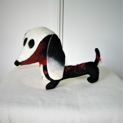 Dachshund Wool Felt Toy Stuffed Red Black White