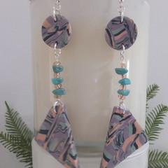 Unique Handmade  Triangle Dangle Drop Beaded Earrings