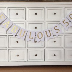 Fabulous 50 Birthday banner. White and Gold or silver. 50th Birthday party.