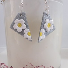 Shimmering Silver Triangle Earrings Dainty White Flower