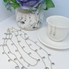Glass Drop Triple Necklace with Silver Seed Beads